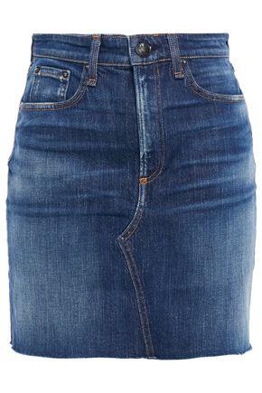 RAG & BONE Hayden distressed faded denim mini skirt