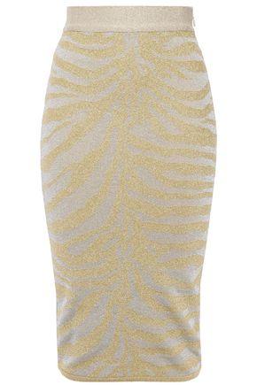 HERVÉ LÉGER Metallic zebra-print stretch-knit pencil skirt