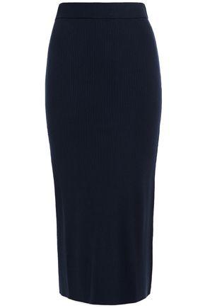 NINETY PERCENT Ribbed-knit midi skirt