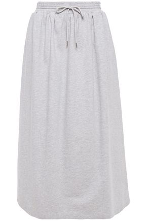 NINETY PERCENT Gathered mélange cotton midi skirt