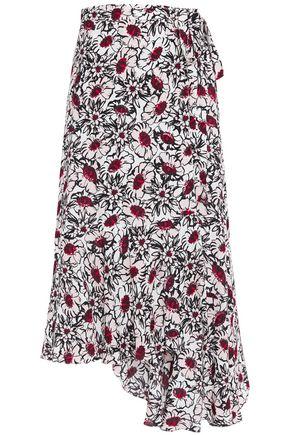 MARKUS LUPFER Caroline asymmetric floral-print crepe midi wrap skirt