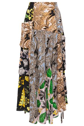 3.1 PHILLIP LIM Draped patchwork-effect printed silk-crepe midi skirt