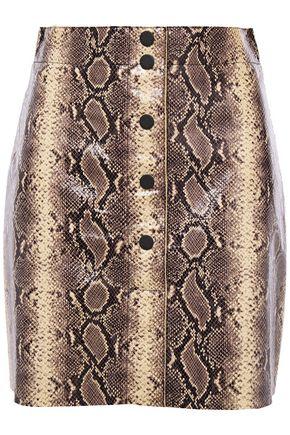 "SANDRO تنورة قصيرة ""كيمبرلاي"" من الجلد بنقوش الثعبان"