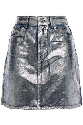 SANDRO Metallic denim mini skirt