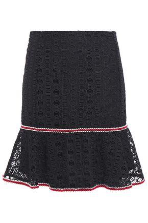 SANDRO Richard fluted guipure lace mini skirt