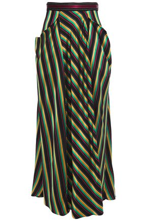 3.1 PHILLIP LIM Draped striped satin maxi skirt