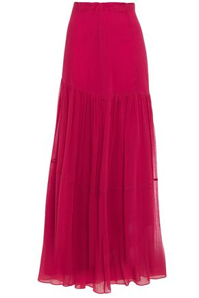 3.1 PHILLIP LIM Gathered textured cotton and silk-blend maxi skirt