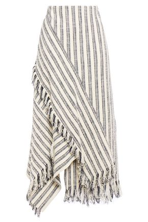 3.1 PHILLIP LIM Asymmetric fringe-trimmed striped cotton-blend bouclé maxi skirt