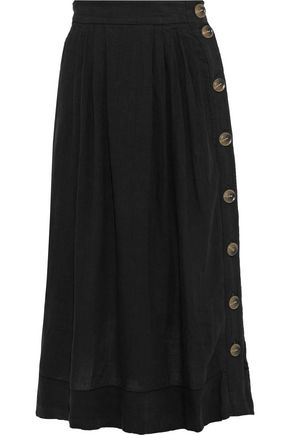 BASSIKE Button-detailed pleated linen midi skirt