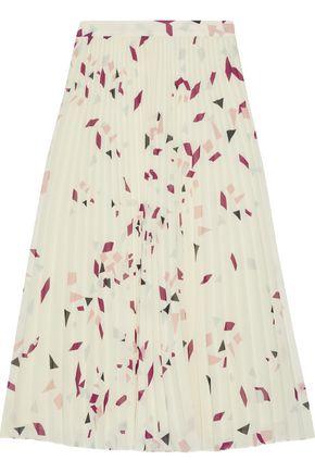 IRIS & INK Genista pleated printed chiffon midi skirt