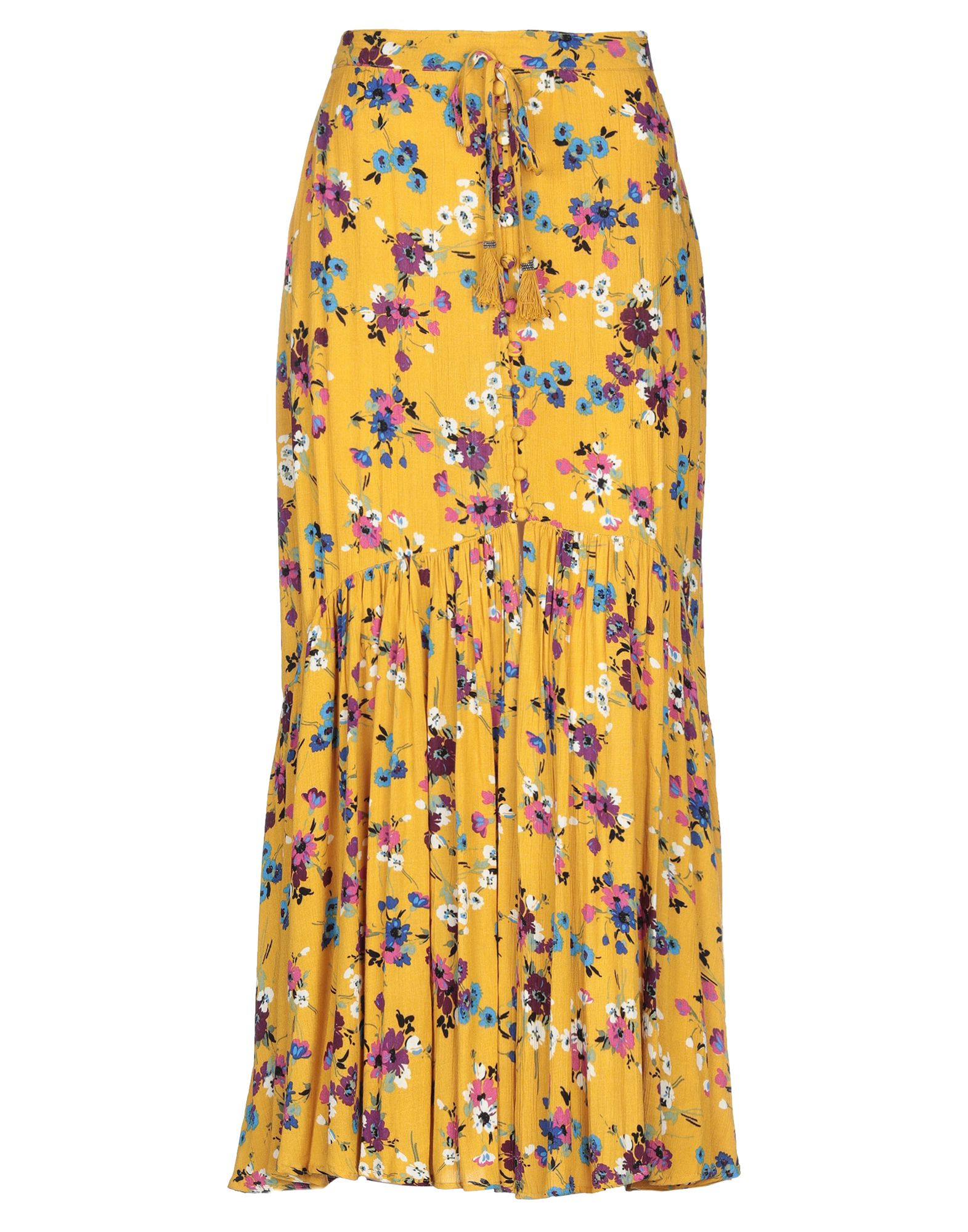 BAND OF GYPSIES Long skirts. plain weave, tassels, floral design, no pockets, front closure, button closing, unlined. 100% Viscose