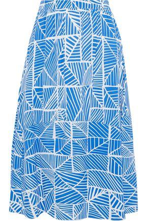 """IRIS & INK تنورة متوسطة الطول """"فلوريا"""" بتصميم ملموم من الكريب المطبع برسومات"""