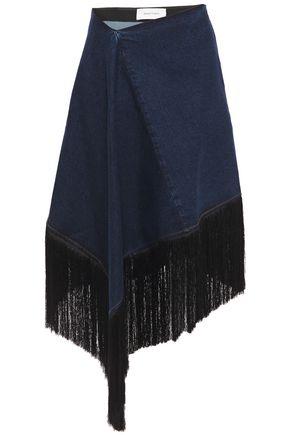 MARQUES' ALMEIDA Asymmetric fringe-trimmed denim skirt