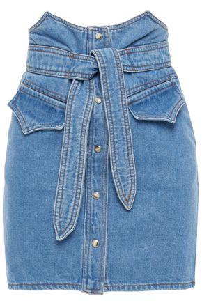 NANUSHKA Reese tie-front denim mini skirt