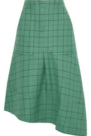 TIBI Asymmetric checked twill midi skirt