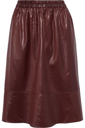 TIBI تنورة بتصميم ملموم من قماش مقاوم للماء ومطلي