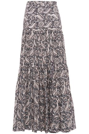 VERONICA BEARD Gathered printed stretch-cotton poplin maxi skirt