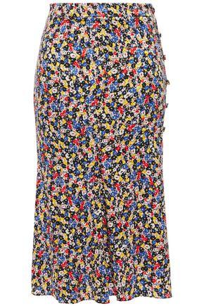 VERONICA BEARD Button-embellished floral-print silk-blend jacquard midi skirt