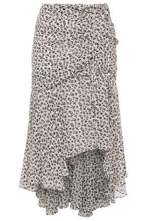 VERONICA BEARD Asymmetric ruched floral-print silk-georgette skirt