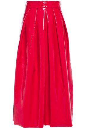 TIBI Pleated vinyl midi skirt