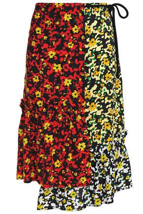 PROENZA SCHOULER Asymmetric paneled floral-print crepe skirt