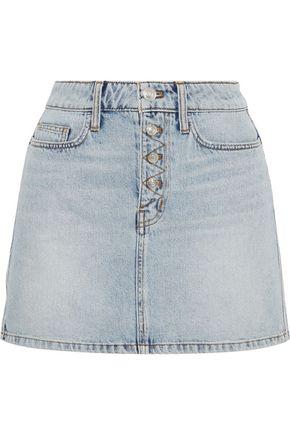 CURRENT/ELLIOTT The Zig-Zag 5-Pocket studded denim mini skirt