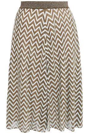 MISSONI Two-tone metallic crochet-knit skirt