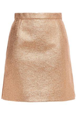 CARVEN تنورة قصيرة من قماش كلوكيه المصنوع من مزيج القطن لون ميتاليك