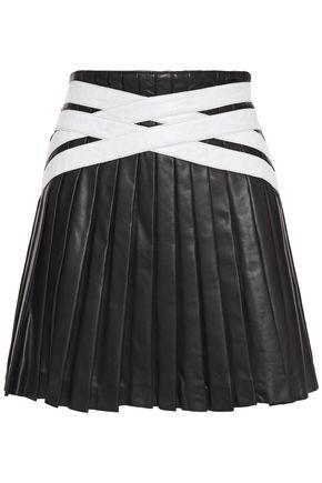 STAND STUDIO Leah pleated leather mini skirt
