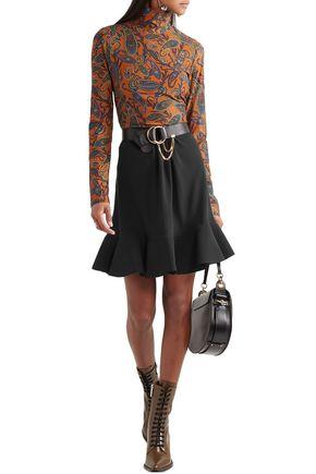 Chloé Fluted Gathered Crepe Mini Skirt In Black