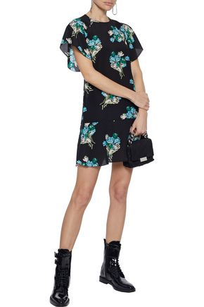 REDValentino Fluted floral-print silk-georgette mini dress