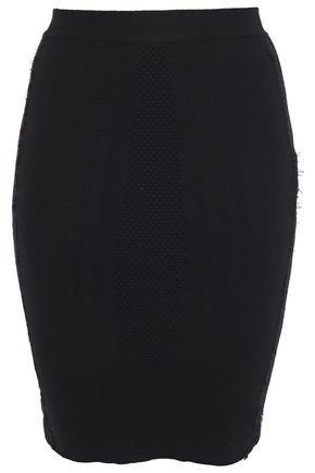 JUST CAVALLI Lace-trimmed jacquard-knit wool mini pencil skirt
