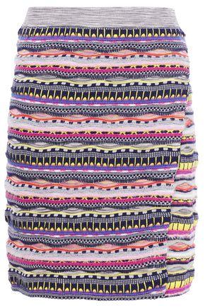 CARVEN Wrap-effect brushed jacquard-knit cotton-blend mini skirt