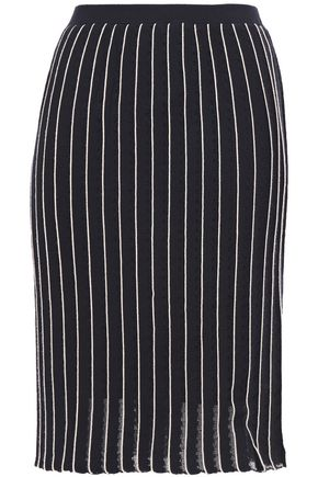 CARVEN Pleated open-knit skirt