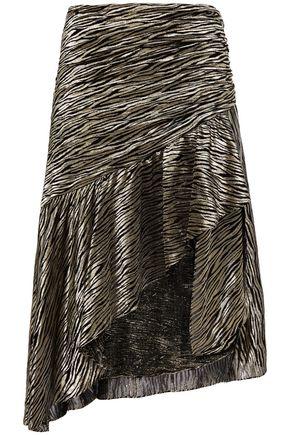 IRO Ropa asymmetric metallic fil coupé silk-blend skirt
