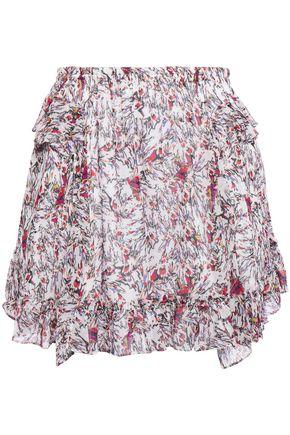 """IRO تنورة قصيرة """"تايد"""" من قماش جورجيت المطبع برسومات مع كشكش"""