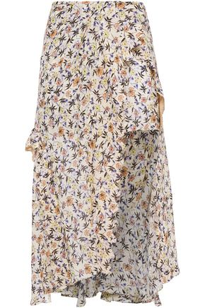 CHLOÉ Asymmetric layered floral-print crepe shorts