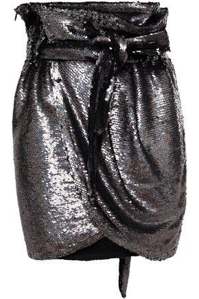 IRO ラップ風 スパンコール付き ジャージー ミニスカート