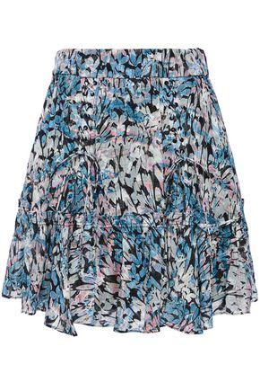 IRO Lace-up fil coupé printed woven mini skirt