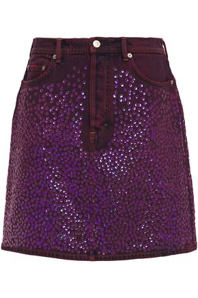 ACNE STUDIOS Sequined embroidered denim mini skirt