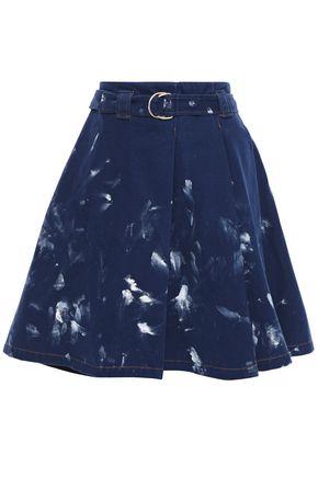ACNE STUDIOS Belted pleated embellished denim mini skirt