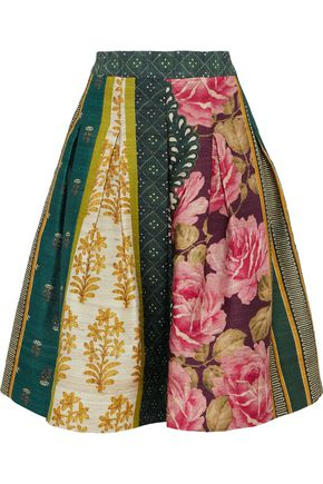 OSCAR DE LA RENTA Flared pleated printed silk-blend skirt