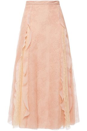REDValentino Flared ruffle-trimmed corded lace midi skirt
