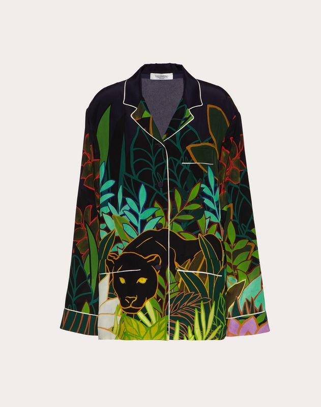 Printed Crepe de Chine Pajama Shirt