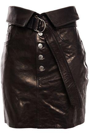 IRO Fabra fold-over leather mini skirt