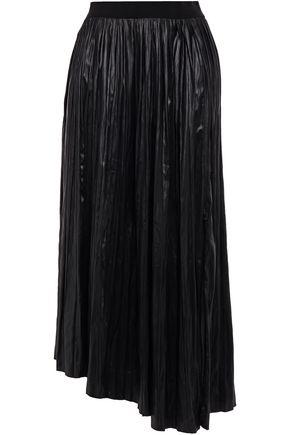 ISABEL MARANT Asymetric pleated coated woven midi skirt