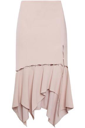 JONATHAN SIMKHAI Asymmetric cutout hook-detailed stretch-crepe skirt