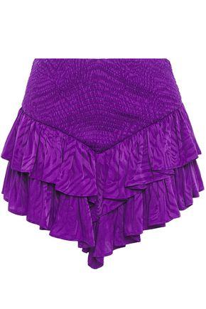 THE ATTICO Asymmetric ruffled shirred jacquard mini skirt