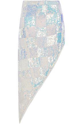 RETROFÊTE Erika asymmetric sequined chiffon skirt