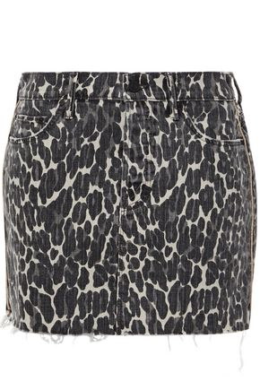 MOTHER The Vagabond distressed leopard-print denim mini skirt